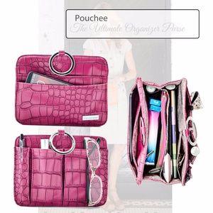 MOD Pouchee Purse Black Leather w/Charcoal Handles